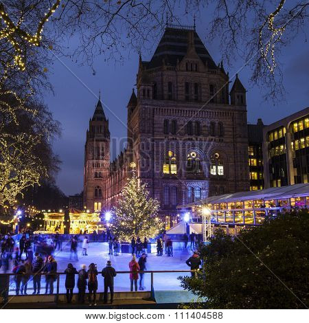 Christmas Ice Rink At Natural History Museum In London