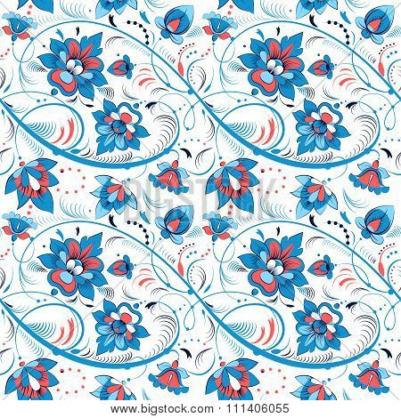 Floral seamless pattern in russian folk style