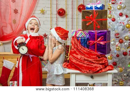 Santa And Deliver Presents Assistant Late New Years Eve