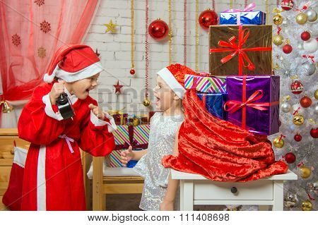 Santa Claus Showing The Clock Happy Assistant
