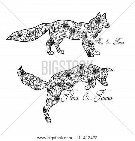 Illustration Of Foxes. Playing Animals. Wild Nature. Flora And Fauna.