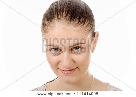 Young Woman With Hair Tied Isolated On The White Background