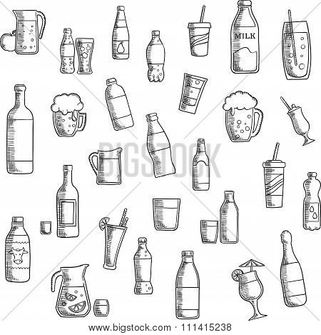 Beverages, cocktails and drinks sketched icons
