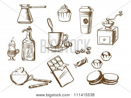 Coffee drinks, ingredients and desserts sketches