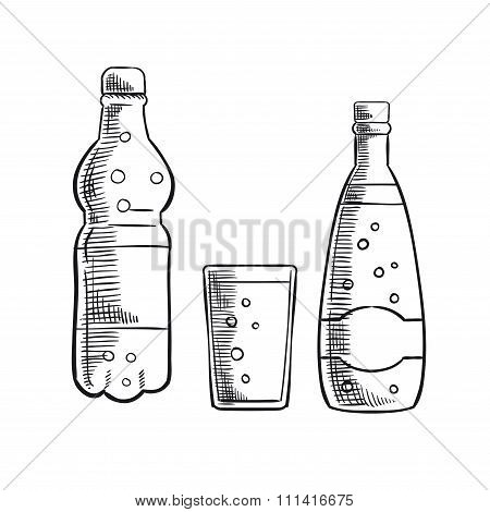 Bottles and glass of sweet soda drink