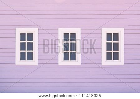 Old Window Of A Wooden House Wall.
