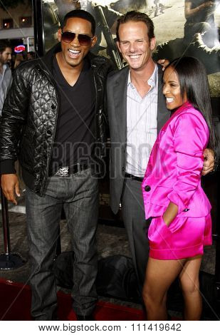Will Smith, Peter Berg and Jada Pinkett Smith attend the Los Angeles Premiere of