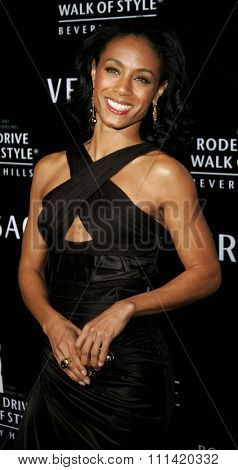 Jada Pinkett Smith attends the Rodeo Drive Walk Of Style Award honoring Gianni and Donatella Versace held at the Beverly Hills City Hall in Beverly Hills, California on February 8, 2007.