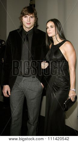 Ashton Kutcher and Demi Moore attend the Rodeo Drive Walk Of Style Award honoring Gianni and Donatella Versace held at the Beverly Hills City Hall in Beverly Hills, California on February 8, 2007.