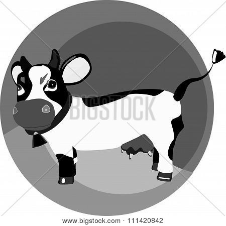 Monochrome Funny Cow On The Grass