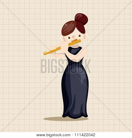 Character Musician Flutist Theme Elements
