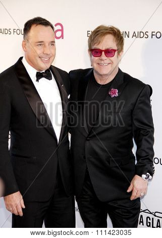 David Furnish and Elton John at the 21st Annual Elton John AIDS Foundation Academy Awards Viewing Party held at the Pacific Design Center in Los Angeles, United States, 240213.