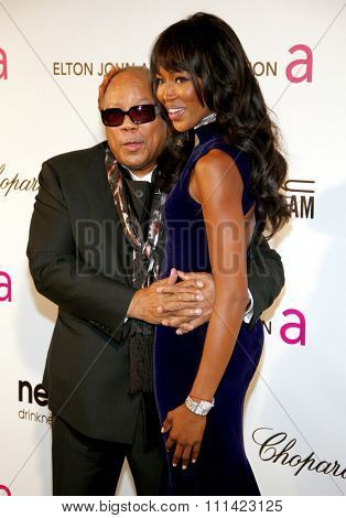 Quincy Jones and Naomi Campbell at the 21st Annual Elton John AIDS Foundation Academy Awards Viewing Party held at the Pacific Design Center in Los Angeles, United States, 240213.