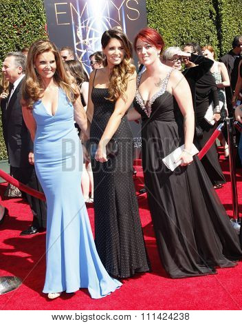 Maria Shriver, Christina Schwarzenegger and Katherine Schwarzenegger at the 2014 Creative Arts Emmy Awards held at the Nokia Theatre L.A. Live in Los Angeles, United States, 160814.
