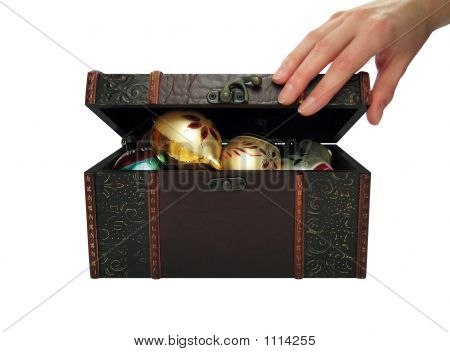 Christmas Balls In A Treasure Chest (+Clipping Path)