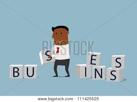 Cartoon businessman building  a business