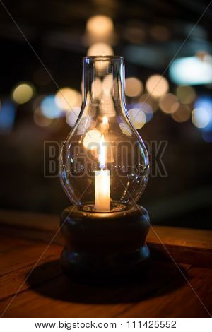 Romantic Night With Candlelight And Bokeh Background. New Year And Chirstmas Or Romantic Valentine D