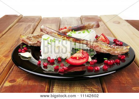 Barbecued Ribs Served With Rice