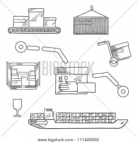 Shipping and delivery service sketch icons