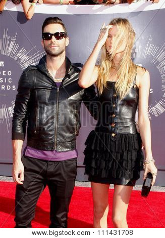 Adam Levine at the 2014 MTV Video Music Awards held at the Forum in Los Angeles on August 24, 2014 in Los Angeles, California.