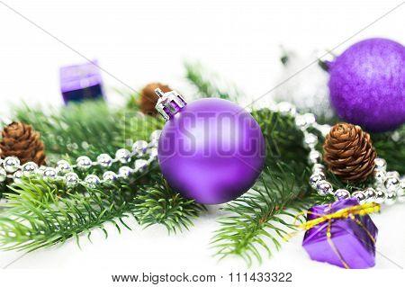 Christmas decorative balls  on white background