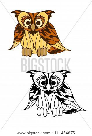 Wild forest yellow owl with brown plumage