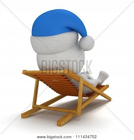 3D Santa Claus Having A Rest On Chaise Lounge