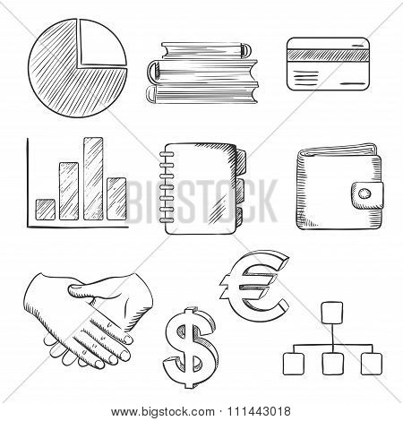 Business and financial sketched icons