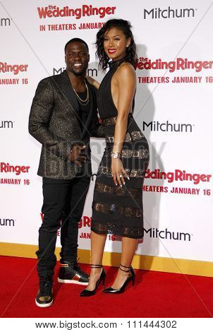 Kevin Hart and Eniko Parrish at the Los Angeles premiere of 'The Wedding Ringer' held at the TCL Chinese Theatre in Los Angeles on Tuesday January 6, 2015.