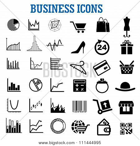 Business, finance, shopping and retail flat icons