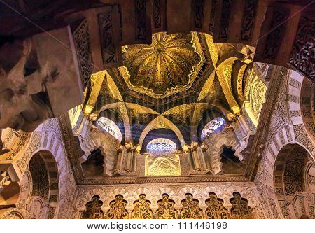 Mihrab Moslem Islam Prayer Niche Dome Chapel Arches Mezquita Cordoba Spain