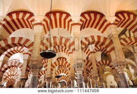 Arches Pillars Mezquita Cordoba Spain