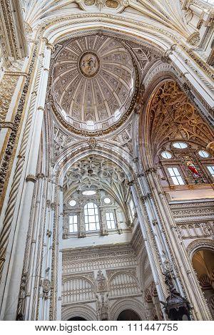 White Ceiling Dome Cathedral Mezquita Cordoba Spain
