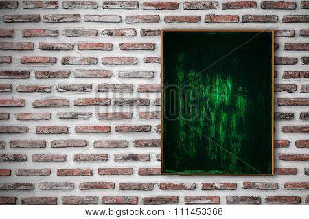 Empty Chalk Board On Brick Wall Background