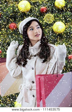Beautiful Girl With Christmas Decoration
