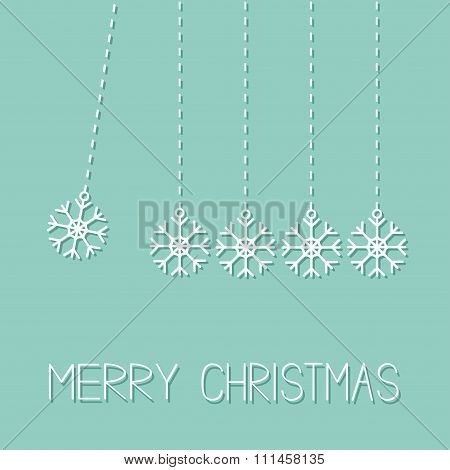 Five Hanging Snowflakes. Dash Line.  Perpetual Motion. Merry Christmas. Flat Design. Blue Background