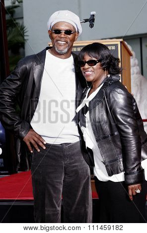 Samuel L. Jackson and LaTanya Richardson attend the Hand & Footprint Ceremony for Samuel L. Jackson held at the Grauman's Chinese Theatre in Hollywood, California on January 30, 2006.