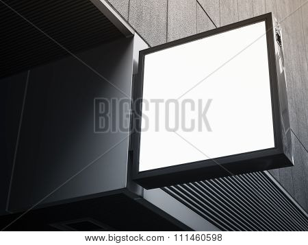 Signboard Shop Mock Up Square Shape Display Perspective