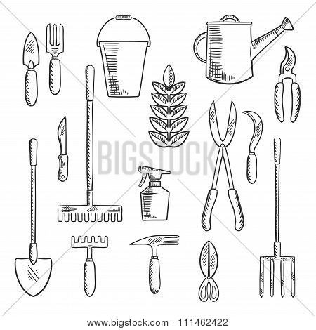 Gadening tools sketched icons set