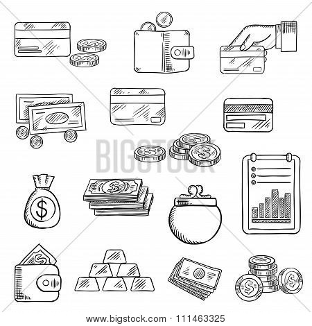 Finance, business and money icons sketches