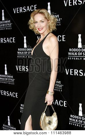 Sharon Stone attends the Rodeo Drive Walk Of Style Award honoring Gianni and Donatella Versace held at the Beverly Hills City Hall in Beverly Hills, California on February 8, 2007.