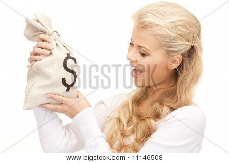 Woman With Dollar Signed Bag