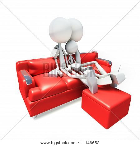 3D Family Watching Television From Sofa