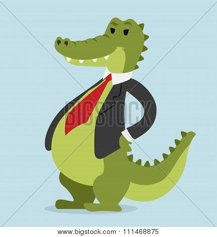 Crocodile business man vector portrait illustration on background
