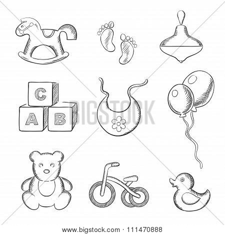 Baby and toys sketched icons set