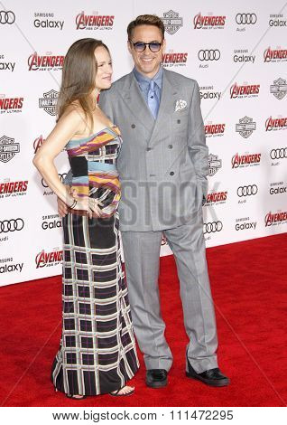 Robert Downey Jr and Susan Downey at the World premiere of Marvel's 'Avengers: Age Of Ultron' held at the Dolby Theatre in Hollywood, USA on April 13, 2015.