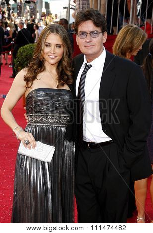 Brooke Mueller and Charlie Sheen at the 60th Primetime EMMY Awards held at the Nokia Theater in Los Angeles, California, United States on September 21, 2008.