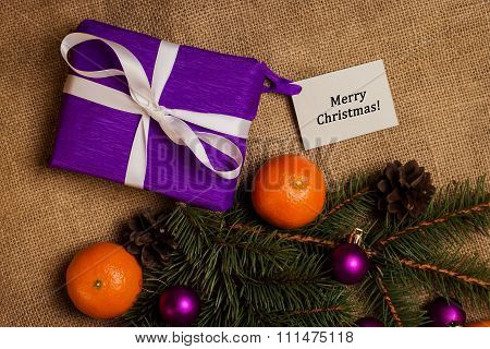 Tag Merry Christmas,gift With Postcard And Christmas Decorations