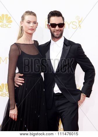 Behati Prinsloo and Adam Levine at the 66th Annual Primetime Emmy Awards held at the Nokia Theatre L.A. Live in Los Angeles on August 25, 2014 in Los Angeles, California.