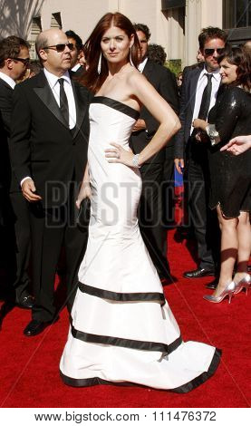 Debra Messing attends the 59th Annual Primetime Emmy Awards held at the Shrine Auditorium in Los Angeles, California, United States on September 16, 2007.
